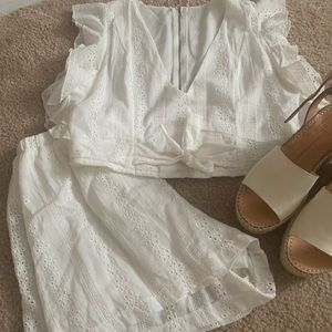 White Eyelet 2 Piece Set